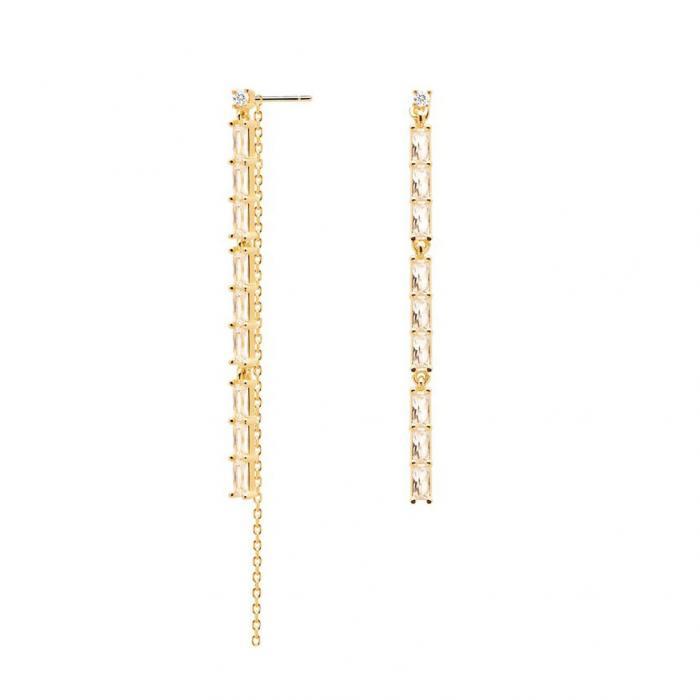 SKU-48773 / Σκουλαρίκια Κρεμαστά PDPAOLA Idris Gold Ασήμι 925 με Ζιργκόν