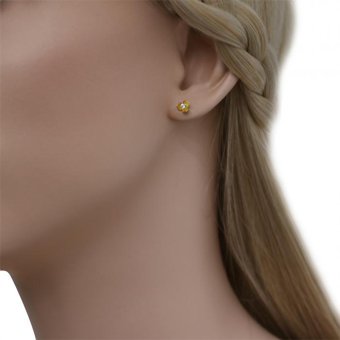 SKU-48517 / Σκουλαρίκια Λουλούδι Χρυσός Κ9 με Ζιργκόν