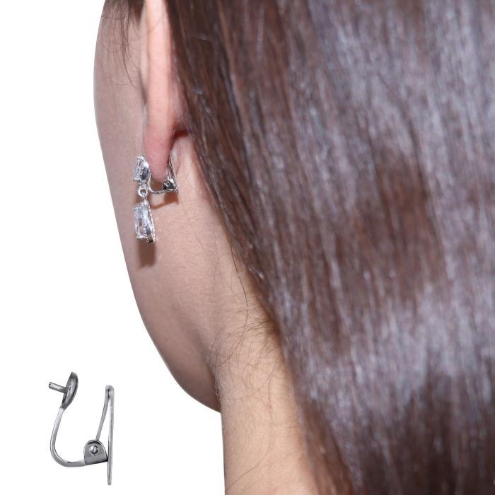 SKU-48821 / Σκουλαρίκια με Κλιπ Λευκόχρυσος Κ14 με Ζιργκόν