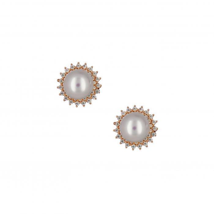 SKU-48861 / Σκουλαρίκια με Κλιπ Ροζ Χρυσός Κ14 με Μαργαριτάρια & Ζιργκόν