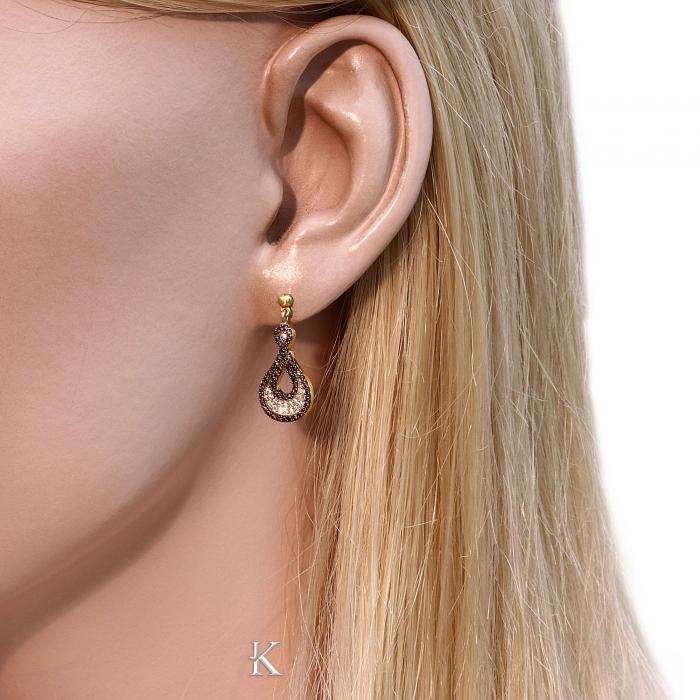 SKU-48854 / Σκουλαρίκια με Κλιπ Χρυσός Κ14 με Ζιργκόν