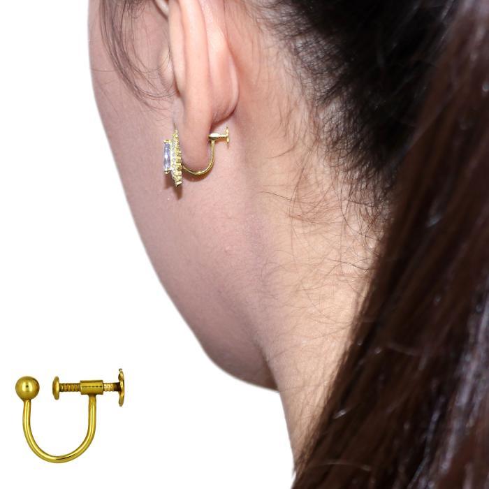 SKU-48856 / Σκουλαρίκια με Κλιπ Χρυσός Κ14 με Ζιργκόν