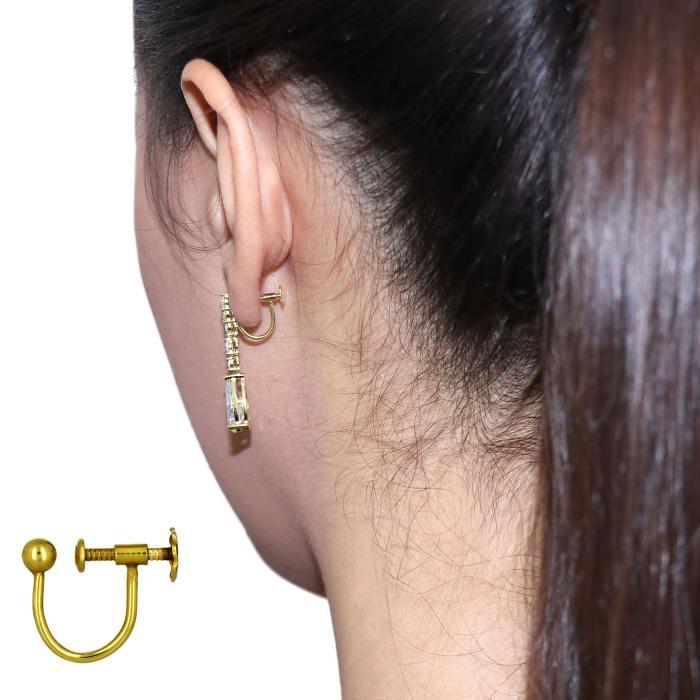 SKU-48795 / Σκουλαρίκια με Κλιπ Χρυσός Κ9 με Ζιργκόν & Μαργαριτάρια