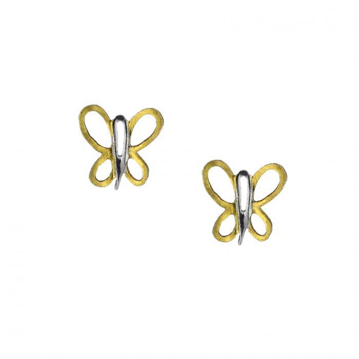SKU-48519 / Σκουλαρίκια Πεταλούδα Χρυσός & Λευκόχρυσος Κ9