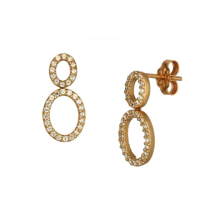 SKU-48960 / Σκουλαρίκια Ροζ Χρυσός Κ14 με Ζιργκόν
