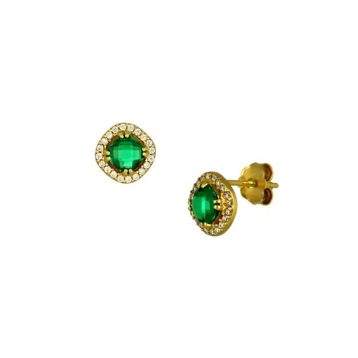 SKU-48307 / Σκουλαρίκια Ροζέτα Χρυσός Κ14 με Ζιργκόν