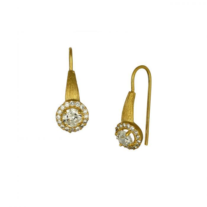 SKU-48549 / Σκουλαρίκια Ροζέτες Χρυσός Κ14 με Ζιργκόν