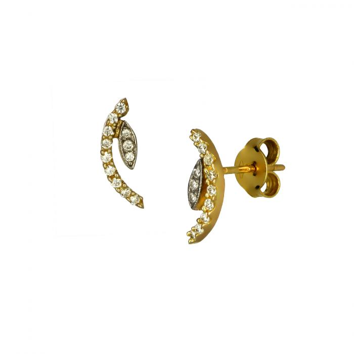SKU-48874 / Σκουλαρίκια Χρυσός & Λευκόχρυσος Κ14 με Ζιργκόν