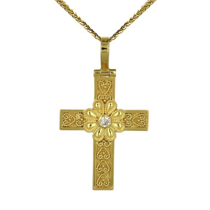 SKU-48588 / Σταυρός Χειροποίητος Χρυσός Κ18 με Διαμάντι