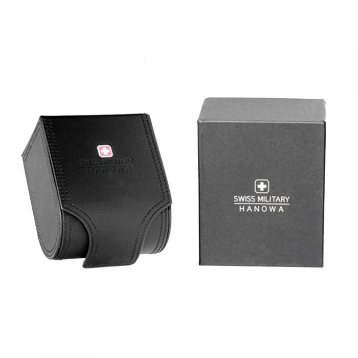 SKU-48395 / SWISS MILITARY HANOWA Helvetus Chrono Black Leather Strap