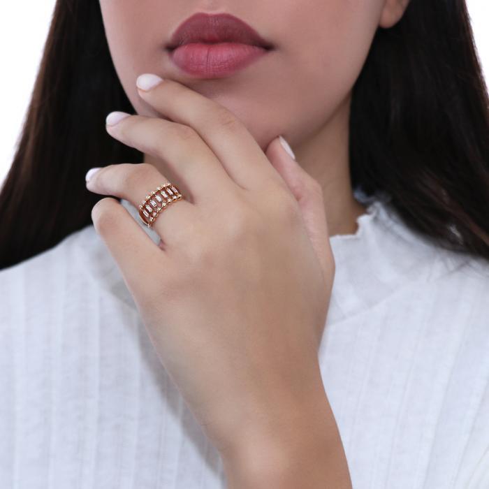 Δαχτυλίδι Ροζ Χρυσός Κ18 με Διαμάντια