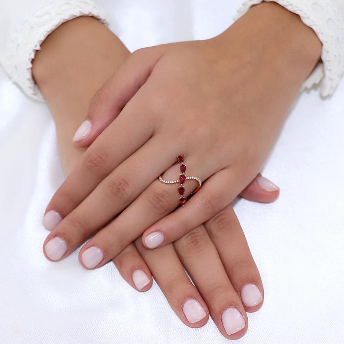 Δαχτυλίδι Ροζ Χρυσός Κ18 με Ρουμπίνια & Διαμάντια