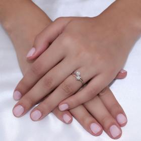 Δαχτυλίδι Λευκόχρυσος & Ροζ Χρυσός Κ18 με Διαμάντια Δαχτυλίδια