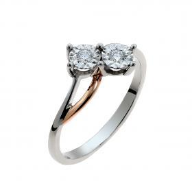 Δαχτυλίδι Λευκόχρυσος & Ροζ Χρυσός Κ18 με Διαμάντια SKU-49415