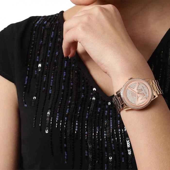 MICHAEL KORS Ritz Rose Gold Crystals Stainless Steel Bracelet