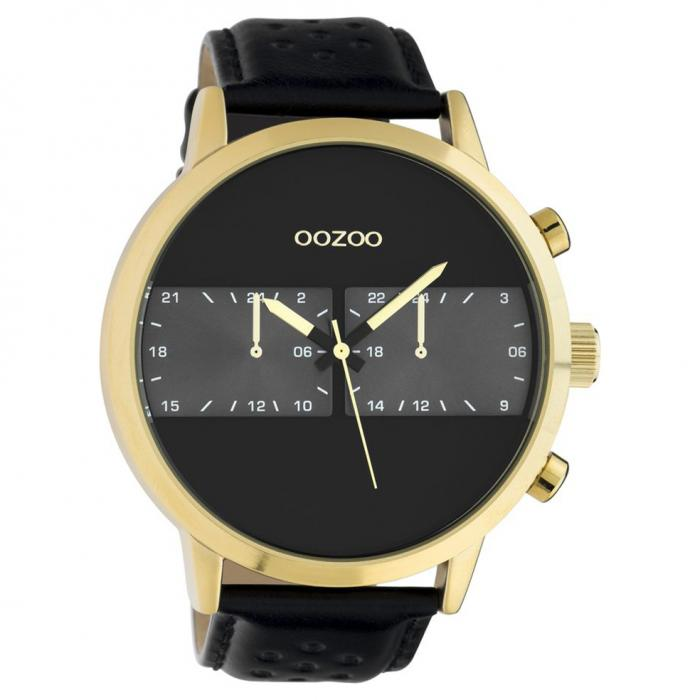SKU-49892 / OOZOO Timepieces Summer Black Leather Strap