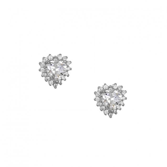 SKU-49142 / Σκουλαρίκια Καρδιά με Κλιπ Ασήμι 925° Ζιργκόν