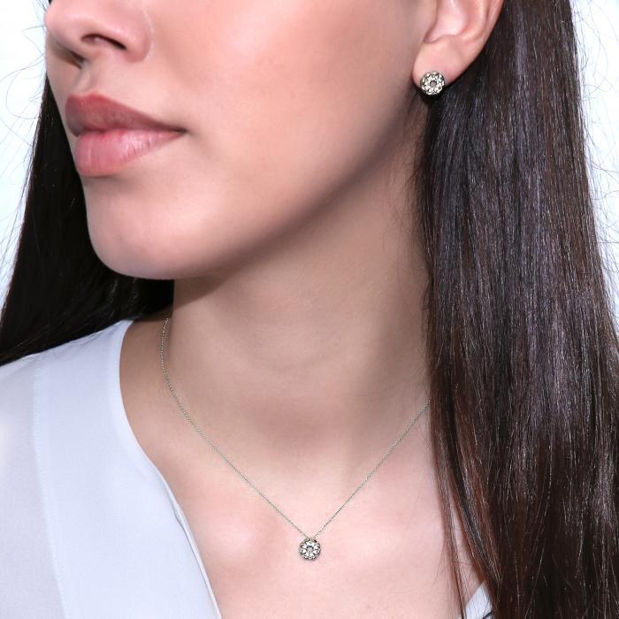 SKU-49348 / Σκουλαρίκια Καρφωτά Λευκόχρυσος Κ14 με Ζιργκόν