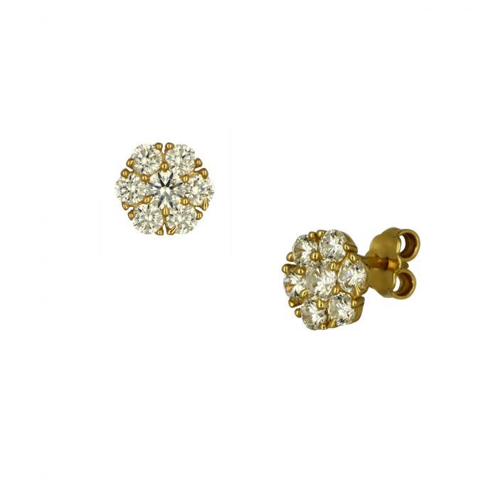SKU-49349 / Σκουλαρίκια Καρφωτά Ροζέτα Χρυσός Κ14 με Ζιργκόν