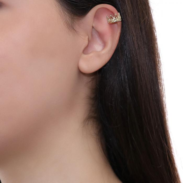 SKU-49562 / Σκουλαρίκια Κορώνα Χρυσός Κ9