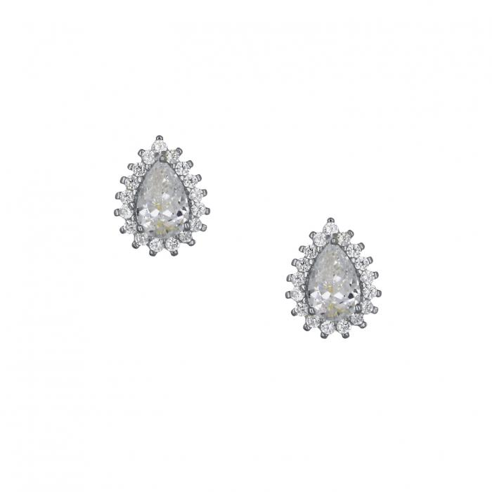 SKU-49146 / Σκουλαρίκια με Κλιπ Ασήμι 925° με Ζιργκόν