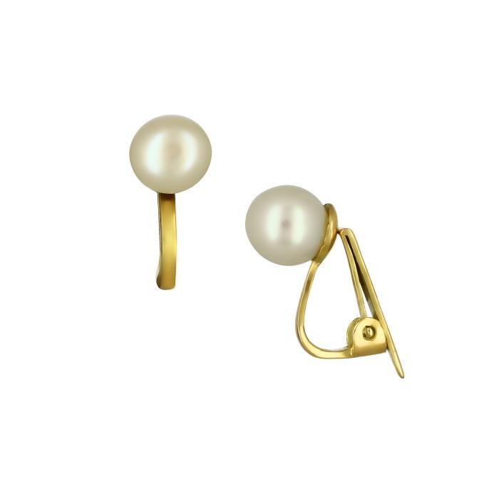 SKU-49196 / Σκουλαρίκια με Κλιπ Χρυσός Κ14 με Μαργαριτάρια