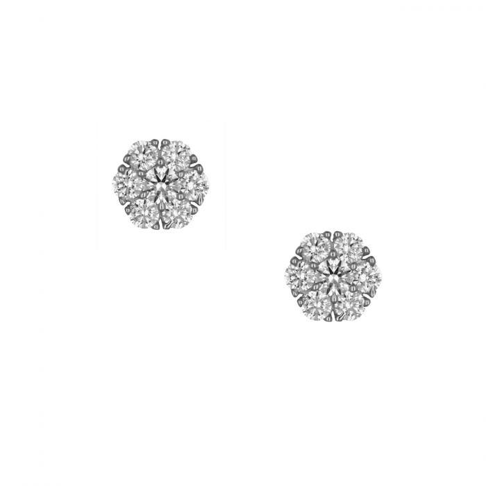 SKU-49350 / Σκουλαρίκια Ροζέτα Λευκόχρυσος Κ14 με Ζιργκόν