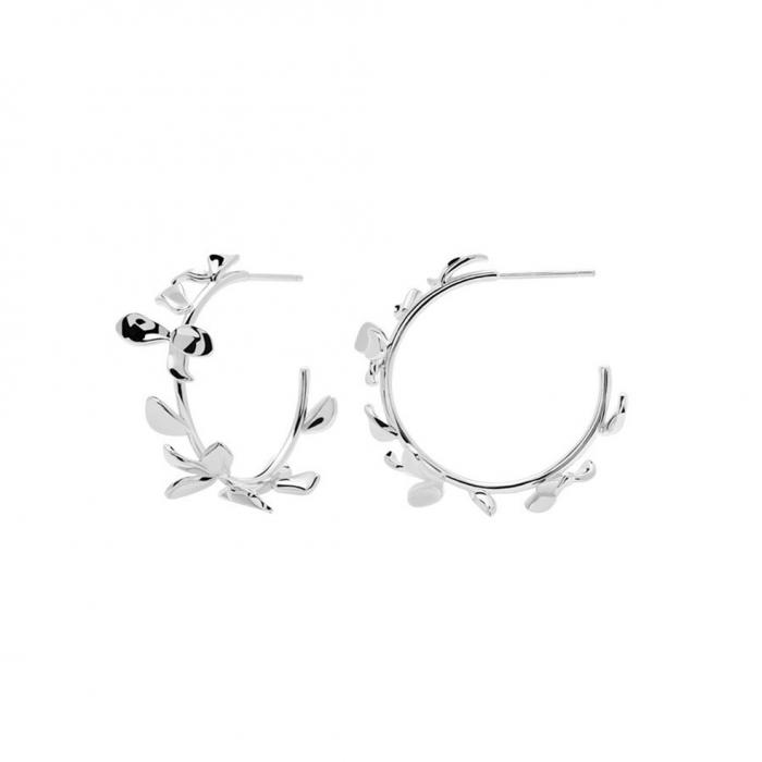 SKU-49067 / Σκουλαρίκια Κρίκοι PDPAOLA Lily Silver