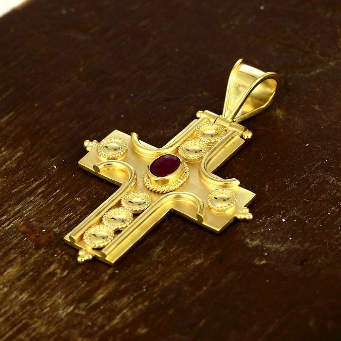 SKU-49499 / Σταυρός Bυζαντινός Χειροποίητος Χρυσός Κ18 με Ρουμπίνι