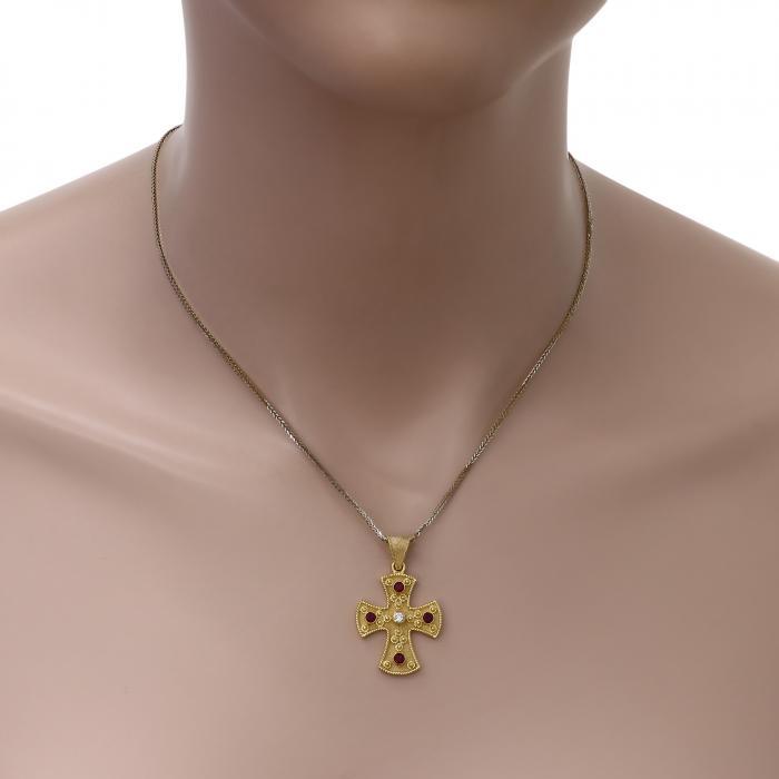 SKU-49496 / Σταυρός Bυζαντινός Χειροποίητος Χρυσός Κ18 με Ρουμπίνια & Διαμάντι