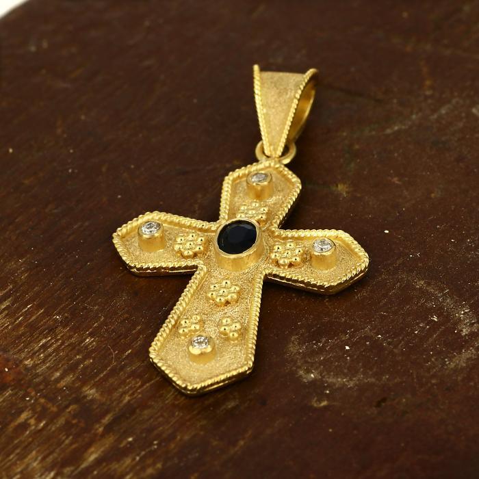 SKU-49497 / Σταυρός Bυζαντινός Χειροποίητος Χρυσός Κ18 με Ζαφείρι & Διαμάντια