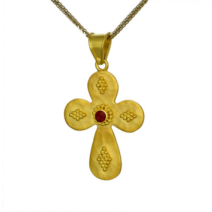 SKU-49500 / Σταυρός Bυζαντινός Χειροποίητος Χρυσός Κ18 με Ρουμπίνι