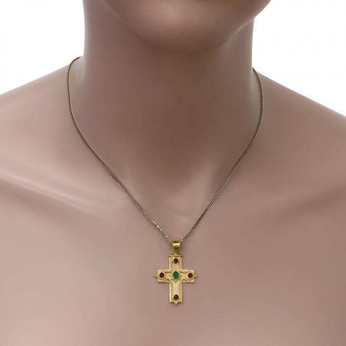 SKU-49495 / Σταυρός Χειροποίητος Βυζαντινός Χρυσός Κ18 με Σμαράγδι & Ρουμπίνια