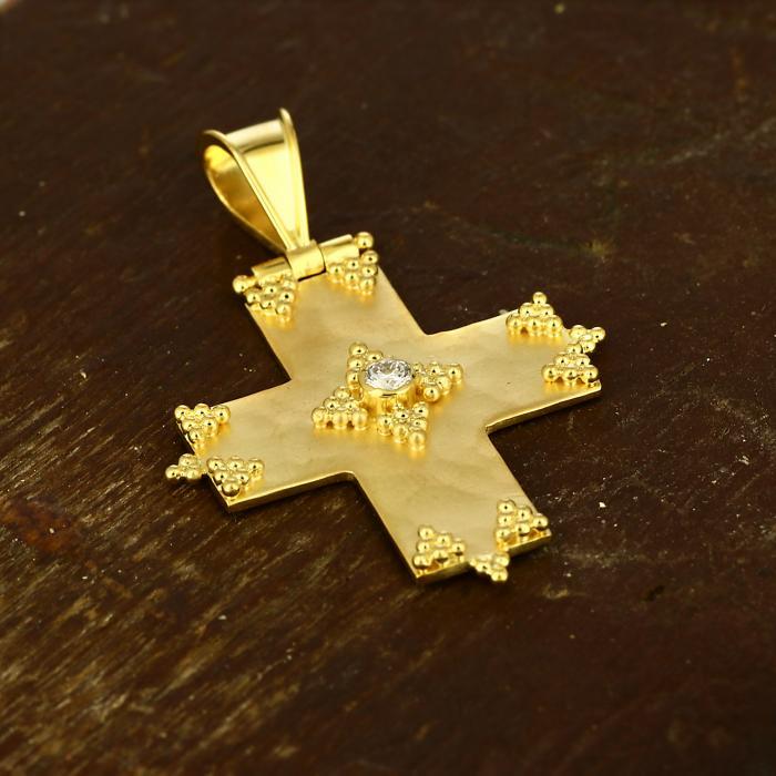 SKU-49498 / Σταυρός Χειροποίητος Χρυσός Κ18 με Διαμάντι