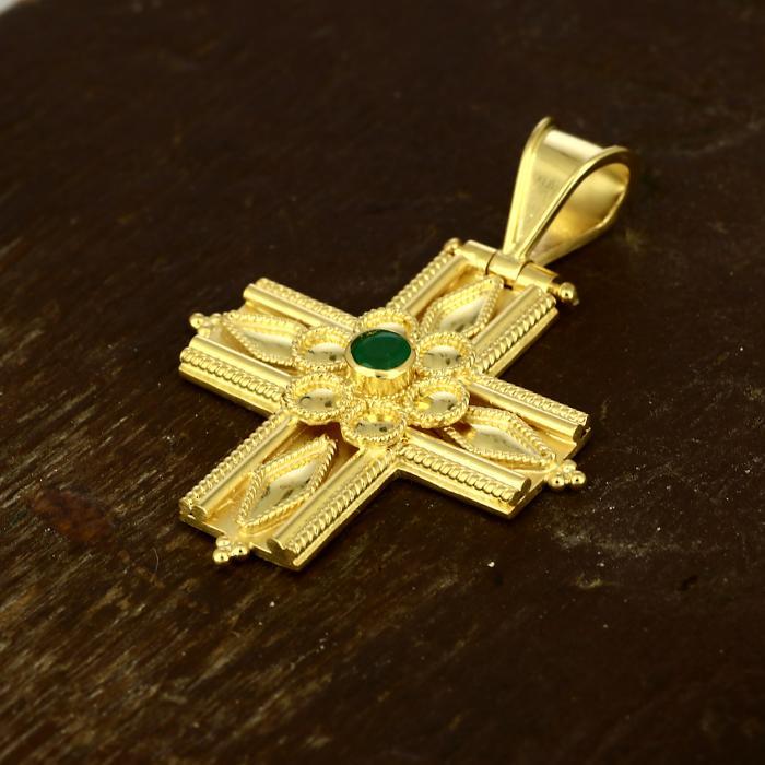SKU-49494 / Σταυρός Χρυσός Κ18 με Σμαράγδι
