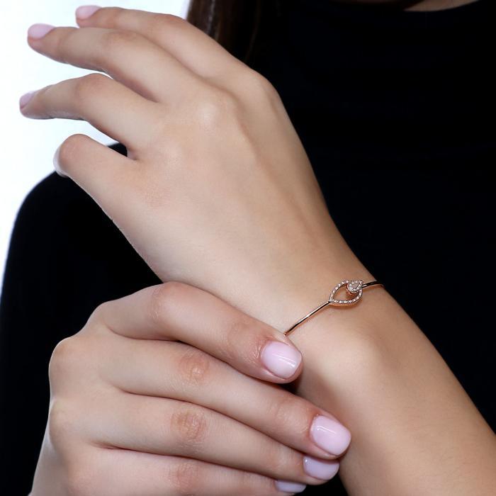 Βραχιόλι Χειροπέδα Ροζ Χρυσός Κ14 με Διαμάντια