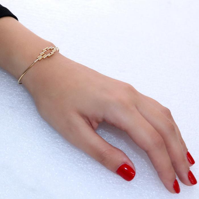 Βραχιολι Χειροπέδα Χρυσός Κ18 με Διαμάντια
