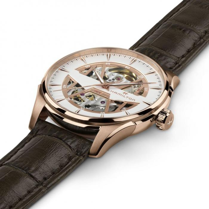 HAMILTON Jazzmaster Skeleton Automatic Brown Leather Strap