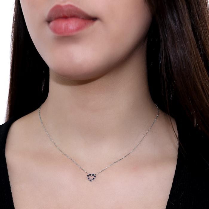 Κολιέ Καρδιά Λευκόχρυσος Κ18 με Διαμάντια & Ζαφείρια