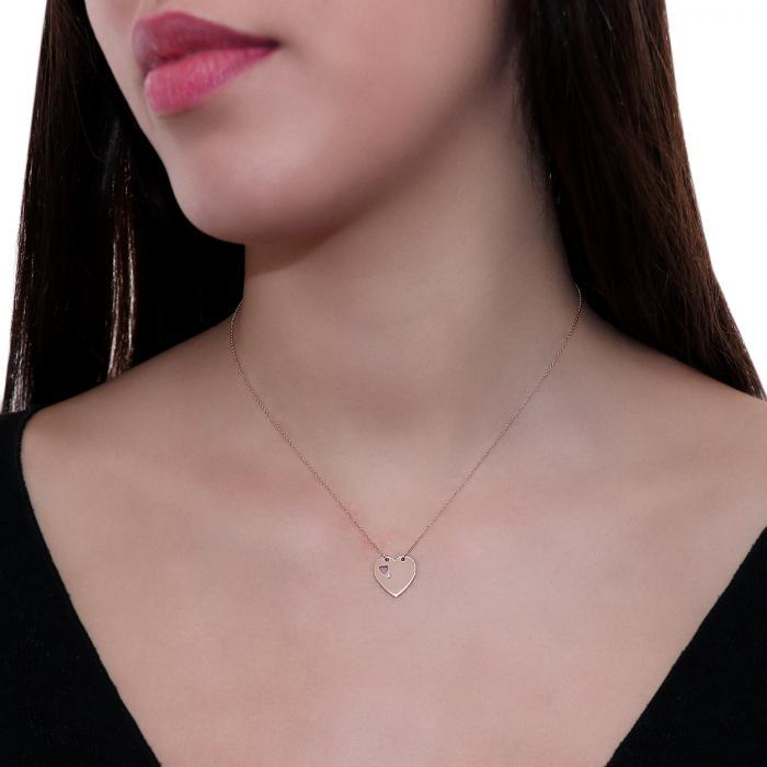 Κολιέ Καρδιά Ροζ Χρυσός Κ18 με Διαμάντι