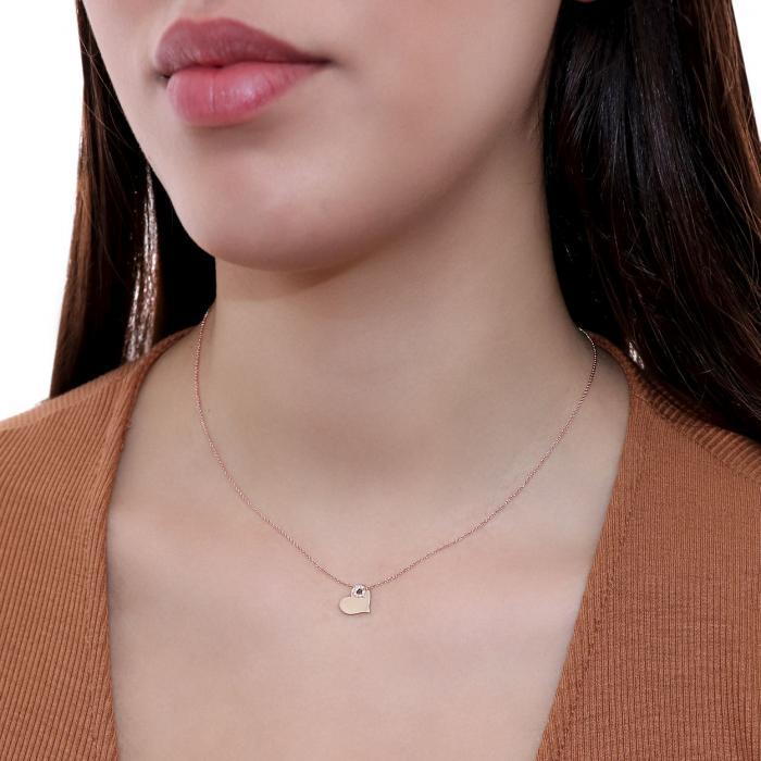 Κολιέ Καρδιά Ροζ Χρυσός Κ18 με Διαμάντια