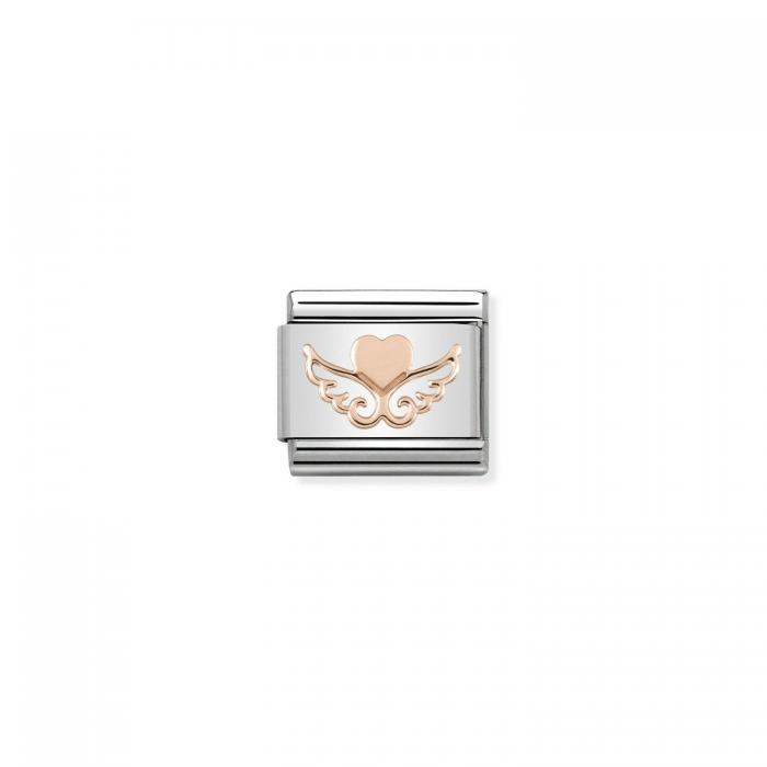SKU-50914 / Link Nomination Heart with Wings Ανοξείδωτο Ατσάλι & Χρυσός Κ9