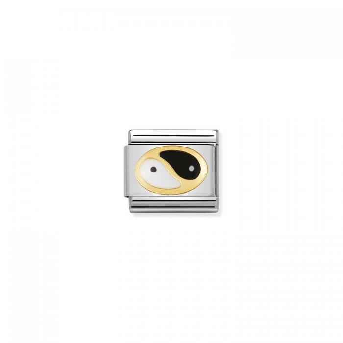 SKU-50818 / Link Nomination Tao Ανοξείδωτο Ατσάλι, Χρυσός Κ18 & Σμάλτο