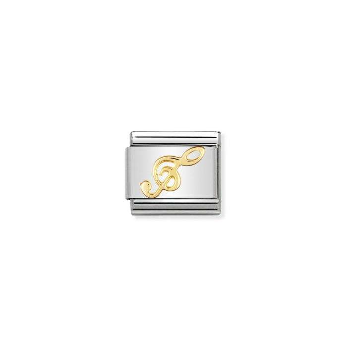 SKU-50798 / Link Nomination Treble Clef  Puzzle   Ανοξείδωτο Ατσάλι & Χρυσός Κ18