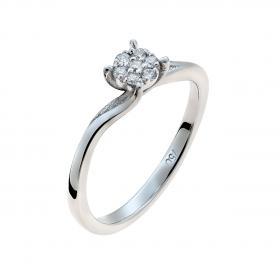Μονόπετρο Δαχτυλίδι Λευκόχρυσος Κ18 με Διαμάντια SKU-50214