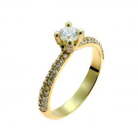 Μονόπετρο Χρυσός Κ18 με Διαμάντια SKU-50457