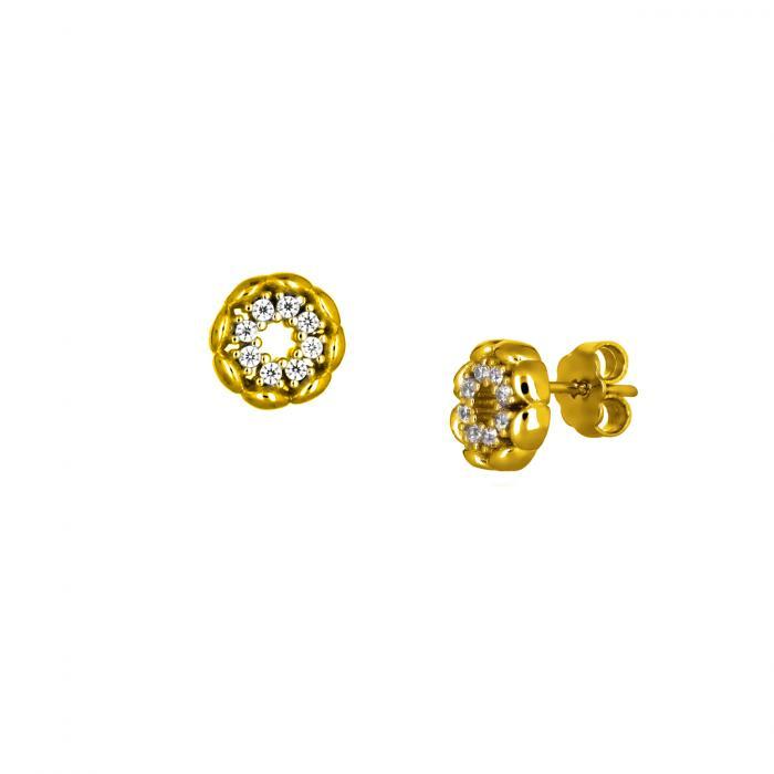 SKU-50098 / Σκουλαρίκια Καρφωτά Χρυσός Κ14 με Ζιργκόν