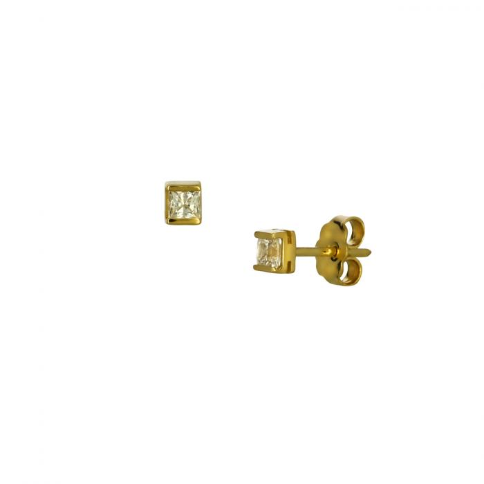 SKU-50100 / Σκουλαρίκια Μονόπετρο Χρυσός Κ14 με Ζιργκόν