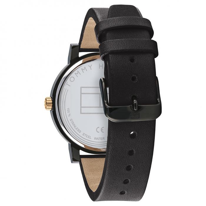 SKU-50667 / TOMMY HILFIGER Denim Black Leather Strap