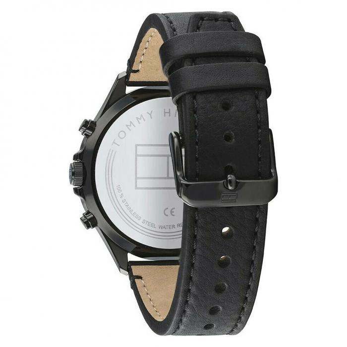 SKU-50668 / TOMMY HILFIGER West Black Leather Strap